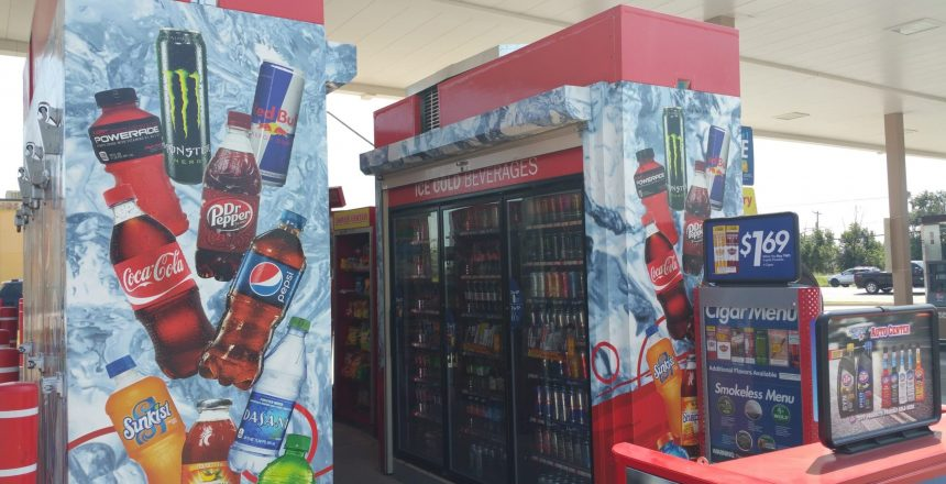 cooler at a convenience store