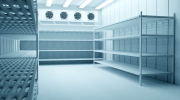 Refrigeration,Chamber,For,Food,Storage.,Metal,Shelves,And,Racks,For